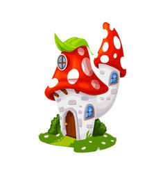 Fairytale amanita mushroom house cartoon building vector