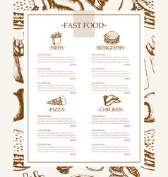 fast food - monochromatic hand drawn template menu vector image