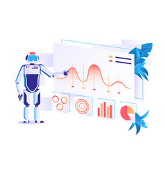 flat automation robot for data analysis with vector image