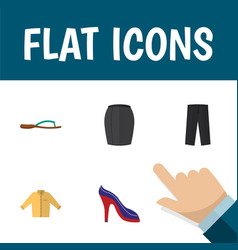 Flat icon clothes set of heeled shoe banyan vector