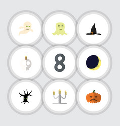 Flat icon halloween set of candlestick crescent vector