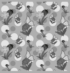 Flowers and butterfly grayscale vector