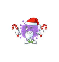 Friendly coronavirus influenza in santa with candy vector