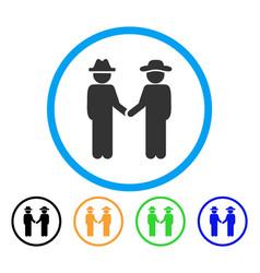 gentleman handshake rounded icon vector image