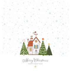 Greeting christmas card with small snow covered vector