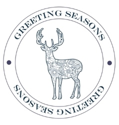 Greeting season stamp blue vector image