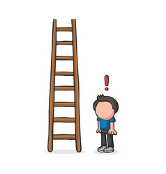 hand-drawn cartoon of man looking wooden ladder vector image