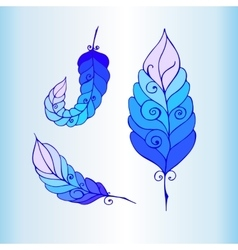 Hand drawn ornament with feathers vector