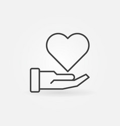 Hand with heart charity concept outline vector