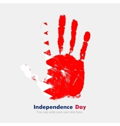 Handprint with the Flag of Bahrain in grunge style vector
