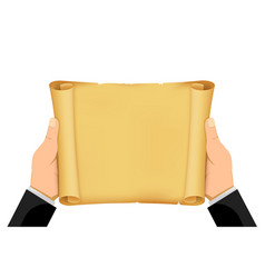 hands are holding a blank scroll paper vector image
