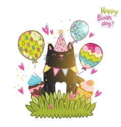 Happy Birthday card background with a dog vector