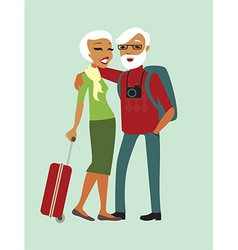 Happy senior couple tourists vector