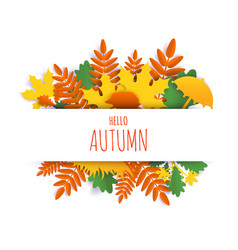 Hello autumn card hand lettering typography vector