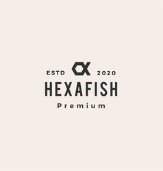 hexagon fish hipster vintage logo icon vector image
