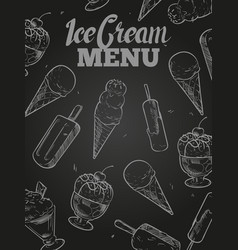 ice cream menu cover - blackboard ice cream poster vector image