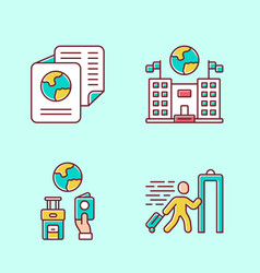 immigration color icons set embassy and consulate vector image