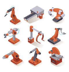 isometric factory robots vector image