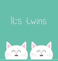 its twins two cute twin cats cat head couple vector image