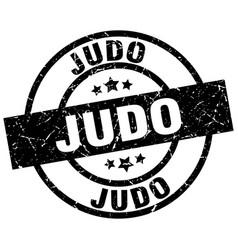 Judo round grunge black stamp vector
