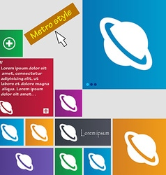 Jupiter planet icon sign metro style buttons vector