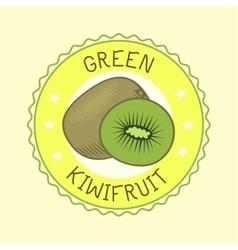 Kiwi fruit slice art label design vector image