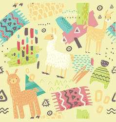 Lamas seamless pattern hand drawn abstract vector