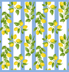 Lemon striped seamless pattern vector
