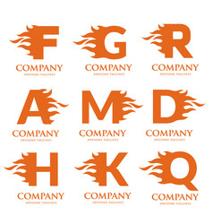 letters with fire logo vector image