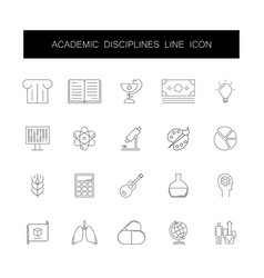 Line icons set academic disciplines pack vector