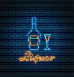 Liquor bottle and glass with lettering in neon vector