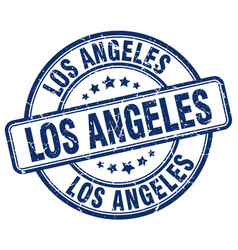 Los angeles blue grunge round vintage rubber stamp vector