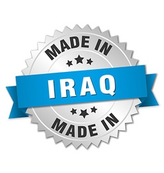 made in Iraq silver badge with blue ribbon vector image