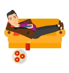 Man lying on sofa with junk food vector