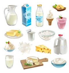 Milk Products Icons Set vector image