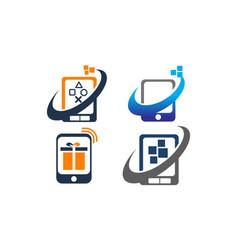 Mobile phone app center set vector