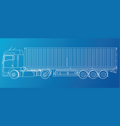 model trailer truck wire-frame eps10 format vector image