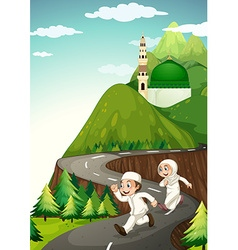 Muslim couple running down the road vector