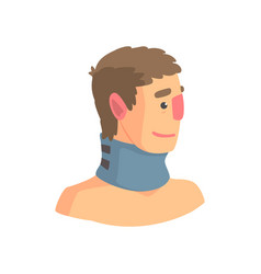 Neck brace used to treat cervical spine problems vector