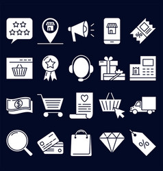 Online shopping icon set in flat style vector