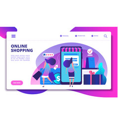 online shopping landing page people with vector image