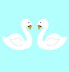 pair white swans on the water flat vector image