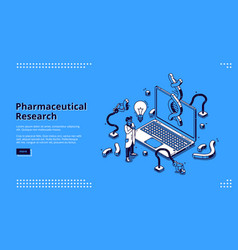 pharmaceutical research isometric landing page vector image