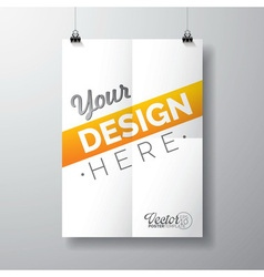 poster template a folded paper sheet vector image