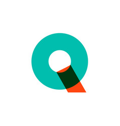 Q letter mark overlapping overlay color logo icon vector