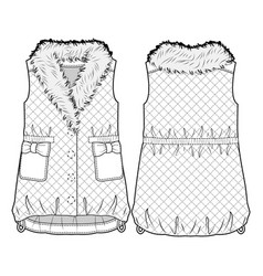 quilted vest with fur collar vector image
