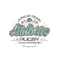 Rugby emblem with shabby texture vector image