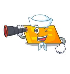 Sailor with binocular parallelogram mascot cartoon vector