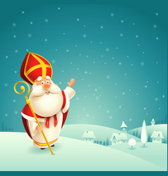 saint nicholas theme winter snowy night landscape vector image