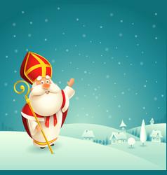 Saint nicholas theme winter snowy night landscape vector